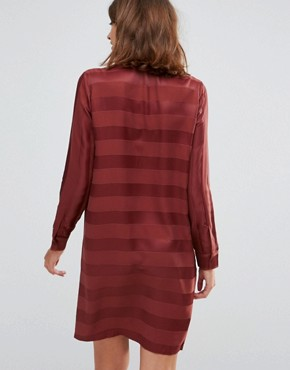 photo Drafty High Neck Shift Dress by Just Female, color Port Red - Image 2