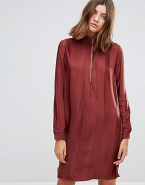 photo Drafty High Neck Shift Dress by Just Female, color Port Red - Image 1