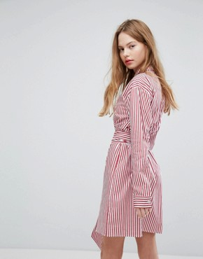photo Shirt Dress with Metal Ring Belt Wrap in Stripe by Plain Studios, color Red - Image 2