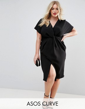 photo Twist Knot Textured Midi Dress by ASOS CURVE, color Black - Image 1