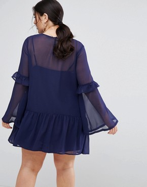 photo Mini Shift Dress with Pep Hem by ASOS CURVE, color Navy - Image 2