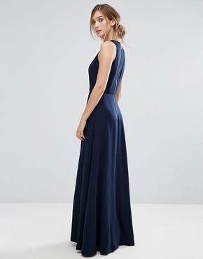 photo Contrast Pleat Maxi Dress by Ted Baker, color Navy - Image 2