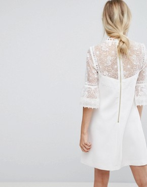 photo Lace Peplum Sleeve Dress by Ted Baker, color Ivory - Image 2