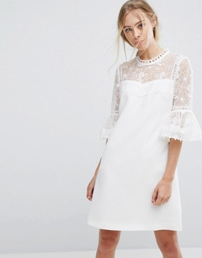 photo Lace Peplum Sleeve Dress by Ted Baker, color Ivory - Image 1