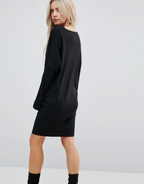 photo Crepe Column Dress with Drape Shoulder & Batwing Sleeves by ASOS PETITE, color Black - Image 2