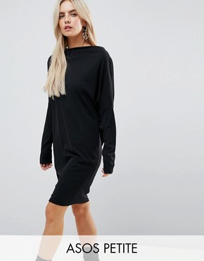 photo Crepe Column Dress with Drape Shoulder & Batwing Sleeves by ASOS PETITE, color Black - Image 1
