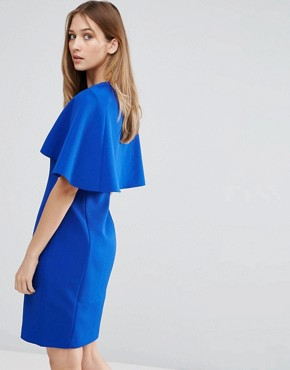 photo Bodycon Cape Back Dress by Ted Baker, color Blue - Image 2