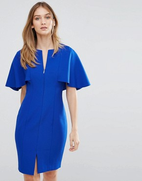 photo Bodycon Cape Back Dress by Ted Baker, color Blue - Image 1