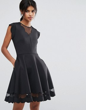 photo Mesh Panelled Scallop Dress by Ted Baker, color Black - Image 1