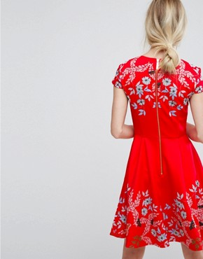 photo Tuck Sleeve Skater Dress by Ted Baker, color Red - Image 2