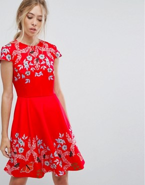 photo Tuck Sleeve Skater Dress by Ted Baker, color Red - Image 1