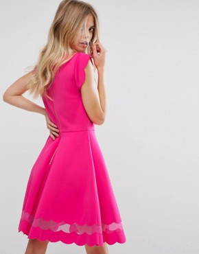 photo Mesh Paneled Scallop Dress by Ted Baker, color Fuchsia - Image 2