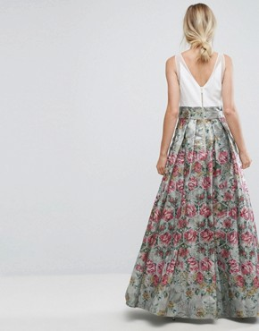 photo Bow Detail Jacquard Maxi Dress by Ted Baker, color Pale Blue - Image 2