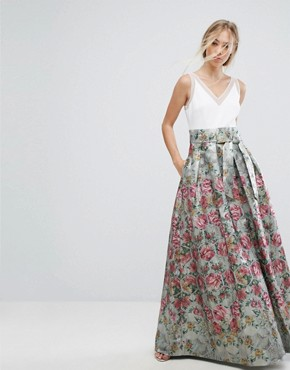photo Bow Detail Jacquard Maxi Dress by Ted Baker, color Pale Blue - Image 1