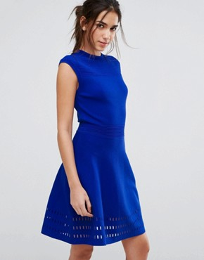 photo Knitted Skater Dress by Ted Baker, color Blue - Image 1