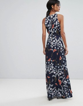 photo Contrast Floral Pleated Maxi Dress by Ted Baker, color Navy - Image 2