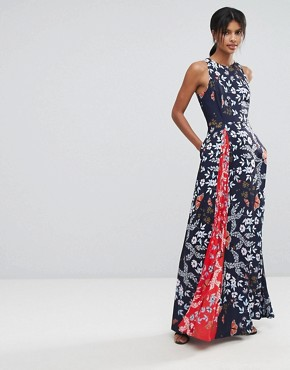 photo Contrast Floral Pleated Maxi Dress by Ted Baker, color Navy - Image 1