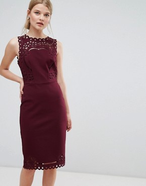 photo Cut Out Detail Bodycon Dress by Ted Baker, color Maroon - Image 1