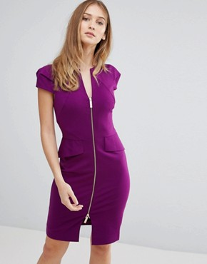 photo Structured Pencil Dress by Ted Baker, color Deep Purple - Image 1