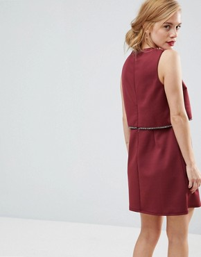 photo Scuba Crop Top with Embellished Trim Mini Dress by ASOS PETITE, color Burgundy - Image 2