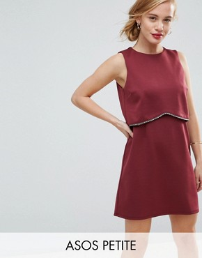 photo Scuba Crop Top with Embellished Trim Mini Dress by ASOS PETITE, color Burgundy - Image 1