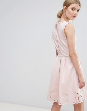 photo V-Neck Embroidered Dress by Ted Baker, color Nude Pink - Image 2
