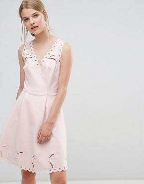 photo V-Neck Embroidered Dress by Ted Baker, color Nude Pink - Image 1