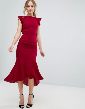 photo Frill Detail Lace Back Midi Dress by Hope & Ivy, color Berry - Image 2