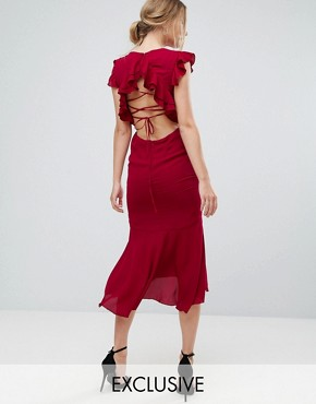 photo Frill Detail Lace Back Midi Dress by Hope & Ivy, color Berry - Image 1