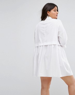 photo Cotton Mini Smock Shirt Dress by ASOS CURVE, color White - Image 2