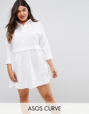 photo Cotton Mini Smock Shirt Dress by ASOS CURVE, color White - Image 1