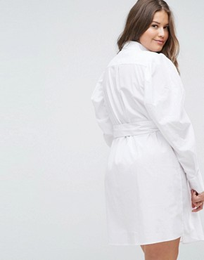 photo Mini Belted Shirt Dress by ASOS CURVE, color White - Image 2
