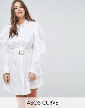 photo Mini Belted Shirt Dress by ASOS CURVE, color White - Image 1