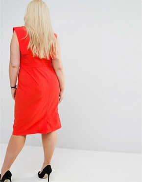 photo Choker Workwear Dress with Seam detail by ASOS CURVE, color Red - Image 2