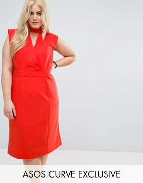 photo Choker Workwear Dress with Seam detail by ASOS CURVE, color Red - Image 1