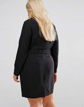 photo Tux Dress with Lace Insert by ASOS CURVE, color Black - Image 2