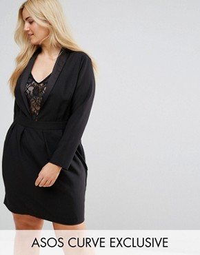 photo Tux Dress with Lace Insert by ASOS CURVE, color Black - Image 1