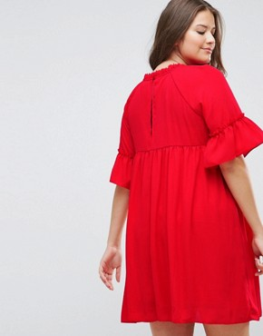 photo Shirred Smock Dress by ASOS CURVE, color Red - Image 2