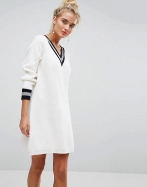 photo V-Neck Cricket Jumper Swing Dress by Willow and Paige, color Off White - Image 1