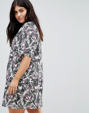 photo T-Shirt Dress in Floral Print by ASOS CURVE ULTIMATE, color Palm - Image 2