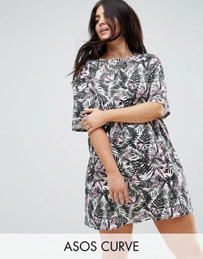 photo T-Shirt Dress in Floral Print by ASOS CURVE ULTIMATE, color Palm - Image 1