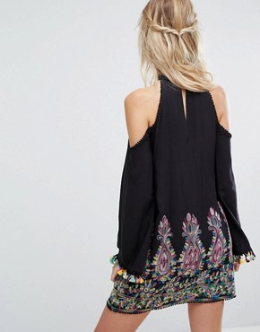 photo High Neck Swing Dress with Rainbow Embroidery and Pom Pom Trim by Kiss The Sky, color Black Multi - Image 2