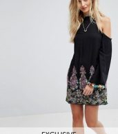 photo High Neck Swing Dress with Rainbow Embroidery and Pom Pom Trim by Kiss The Sky, color Black Multi - Image 1