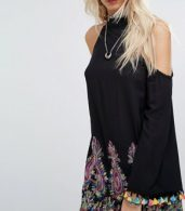 photo High Neck Swing Dress with Rainbow Embroidery and Pom Pom Trim by Kiss The Sky, color Black Multi - Image 3