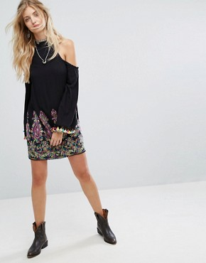 photo High Neck Swing Dress with Rainbow Embroidery and Pom Pom Trim by Kiss The Sky, color Black Multi - Image 4