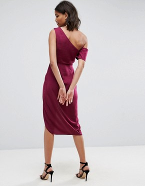 photo Hammered Satin Pencil Midi Dress by ASOS, color Berry - Image 2