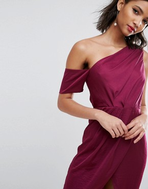 photo Hammered Satin Pencil Midi Dress by ASOS, color Berry - Image 3
