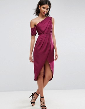 photo Hammered Satin Pencil Midi Dress by ASOS, color Berry - Image 1
