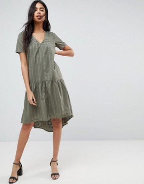 photo Textured Grid T-Shirt Smock Midi Dress by ASOS, color Khaki - Image 1