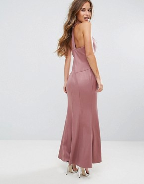 photo Embellished High Neck Fishtail Maxi Dress by Little Mistress Petite, color Canyon Rose - Image 2